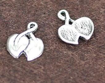 Antique silver double leaves 30PCS (0432)