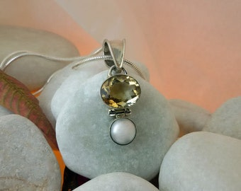 Handmade silver pendant, topaz and cultivated pearl. Citrine Quartz. Pearl and sterling silver pendant.