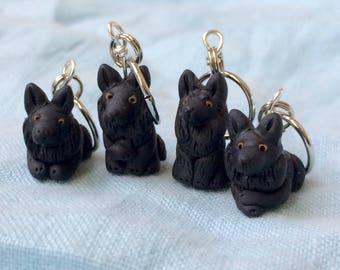 Miniature Dog,Belgian Shepherd, Groenendael Dog, Clay Stitch Markers, Knitting Tool, Knitting Helper, Progress Keepers, Set of 4