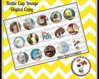 The Secret Life Of Pets -INSTANT DOWNLOAD - Bottle cap Images - Cake toppers - Bow Center- Cat, Dog, Bird