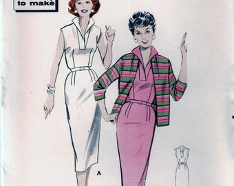 Butterick 8492 Vintage 1960s Slim Wiggle Sheath Dress And Jacket Sewing Pattern Size 16 Bust 36