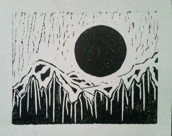Moon and Mountains Print (B&W, distressed)