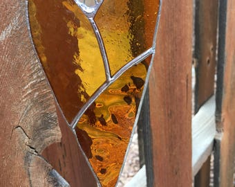"""Stained glass """"Heart of gold"""" suncatcher"""