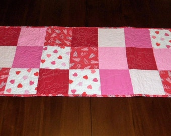 Valentine's Day, Handmade, Table Topper, Quilted Table Runner, 16x37 Inches, Sale Priced, Machine Quilted