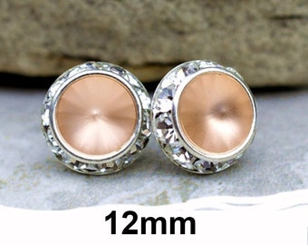 12mm Light Peach Matte and Silver Rhinestone Stud Earrings, Light Peach Crystal Studs, Frosted Peach Surrounds Studs