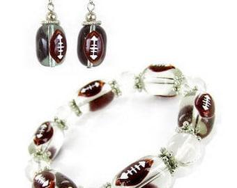 3D Hand Painted Football Glass Beads Earrings + Stretch Bracelet Set