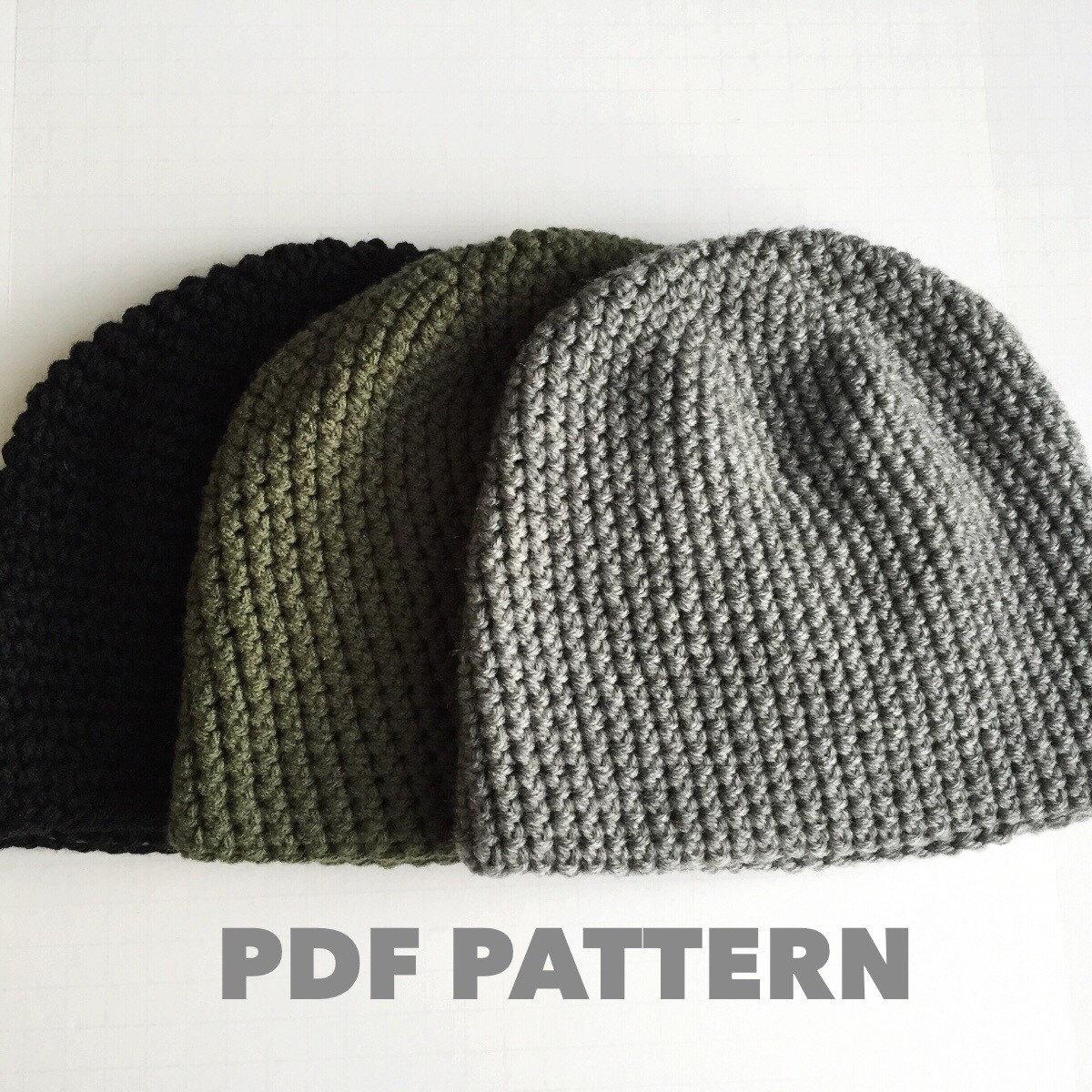 Pattern Mens Easy Hat Crochet Beanie Seamless Simple Basic Classic ...