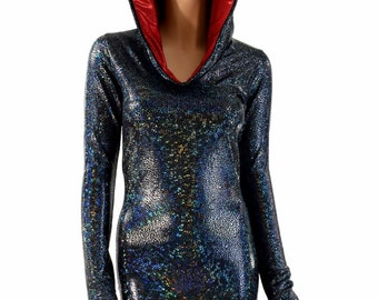 Black on Black Shattered Glass Long Sleeve Hoodie Bodycon Dress with Red Metallic Hood Lining 154189