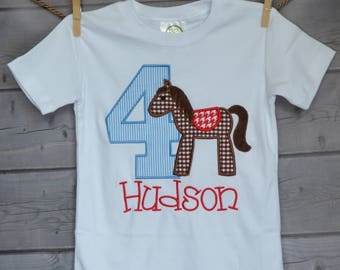 Personalized Birthday Horse with Raggedy Tail and Mane Applique Shirt or bodysuit Girl or Boy