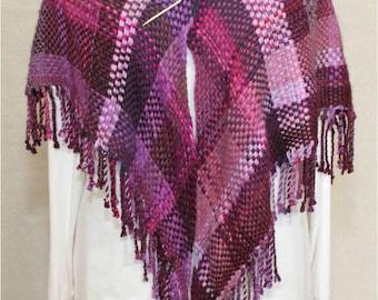 Handwoven Triangle Shawl in Purple Casserole
