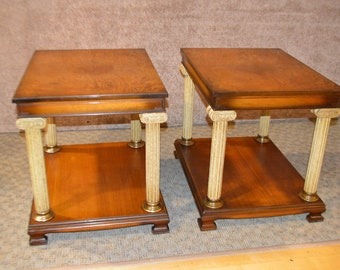 Pair of Vintage Neo-Classic Style Side Tables W/Corenthian Column Legs