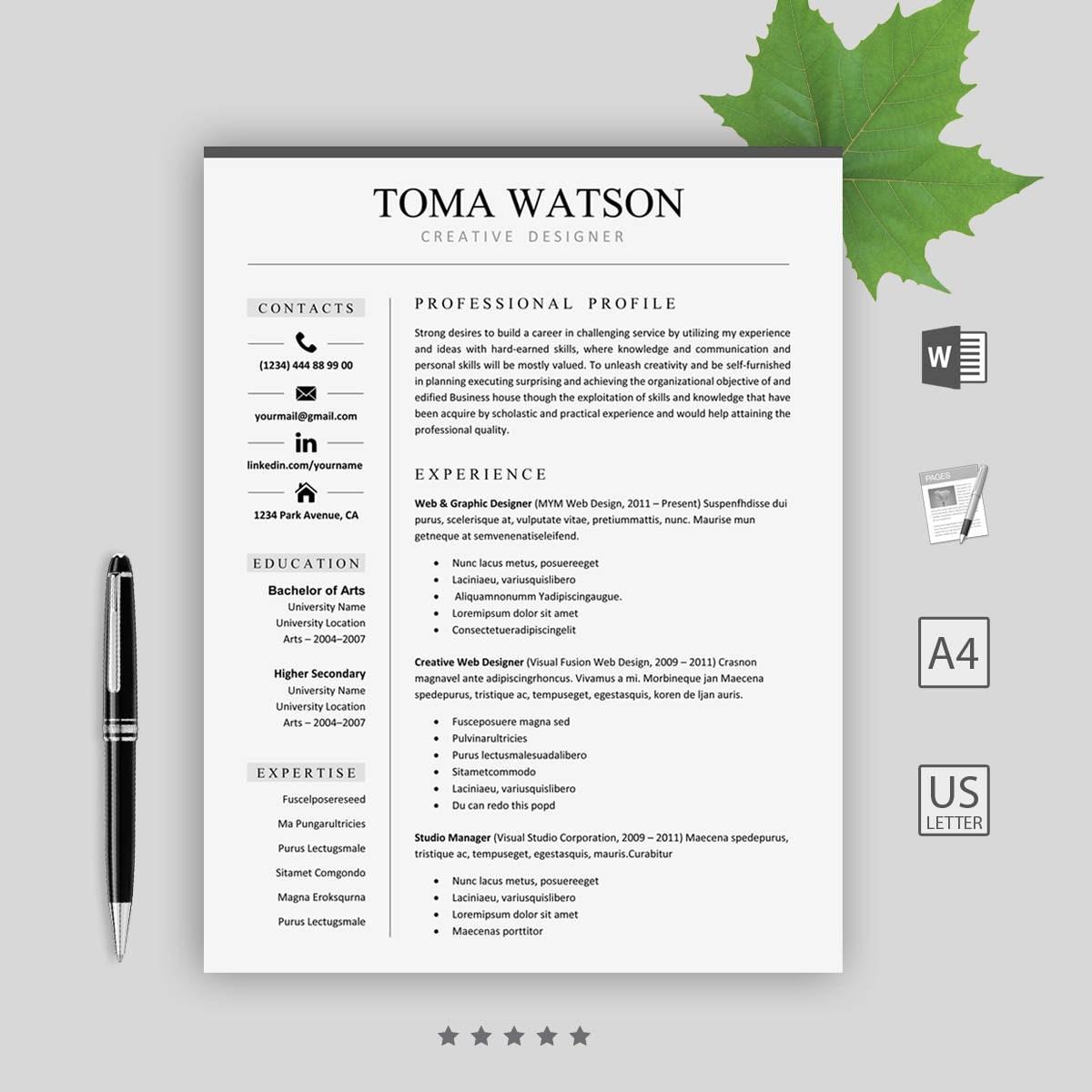 Lebenslauf Vorlage sofort herunterladen-CV kreative