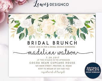 Bridal Brunch Invitation | DIY INSTANT DOWNLOAD | Shower Card | Watercolor Floral Invite | Printable Editable pdf