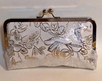 Bridal Clutch |Wedding Clutch | Off White or White | Rose and Silver Brocade