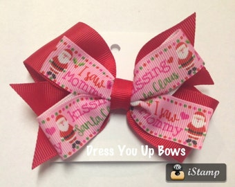 """1, 2, 6, 12 bows -  4"""" red I saw Mommy kissing Santa Claus Christmas holiday hair bow grosgrain baby clip birthday party toddler stocking"""