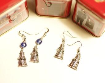 Dalek Charm earrings, Exterminate, Dalek earrings, Dr Who earrings, Doctor Who, robot charm, Dr Who charm, SciFi, geeky jewelry, Geronimo