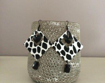 black and white pierced earrings