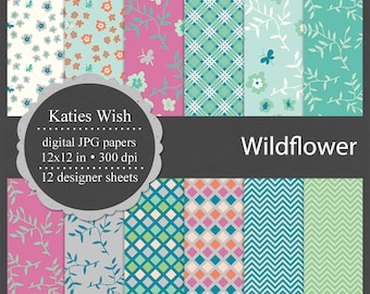 Instant Download Wildflower blue green digital kit commercial use jpg backgrounds for invitations, scrapbooking, sticker design
