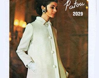 ON SALE Vintage 1960s Designer Patou A Line Dress w/ A Line Coat Evening or Street Length Vogue Paris Original 2029 Size 12 Bust 34 w/ Sew i