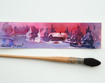 Original watercolor, original bookmark, small gift, gift of mothers, Painting of a winter landscape at sunset