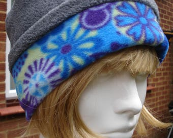 Fleece Pill Box Hat Grey And Blue Floral Reversible