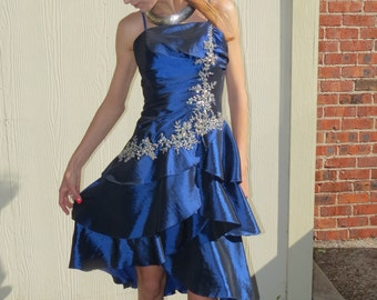 Dress with Ruffles     Prom Dress, Vintage Formal Dress, Tiered Ruffle Dress, Sequin and Beads, 80s, Party Dress, Size 6, Sapphire Blue