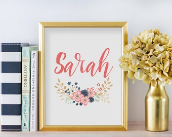 Custom Name Nursery Sign, Nursery Wall Art, Floral Art Print, Personalized Baby Gift, Baby Shower Gift, Nursery Decor, A-1264
