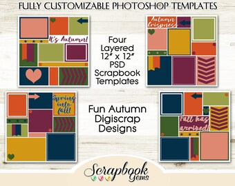 "Four 12"" x 12"" Autumn Digital Scrapbook Layered Photo Templates, PSD Format digiscrap photoshop collage customizable editable fall winter"