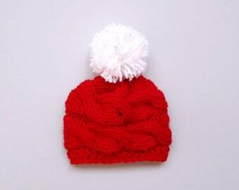 Baby Pom Pom Beanie_Knit Baby Hat _Newborn Baby Hat Photo Props_Knit Baby Hat_Pom Pom Baby Hat_Knit Baby Beanie_Toddler Pom Pom Hat