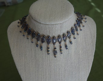 Genuine iolite and freshwater pearl choker and earrings