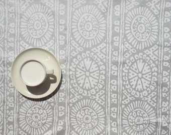 Marimekko Tablecloth white silver grey abstract flower , table runner , napkins , curtains , pillows available, great GIFT