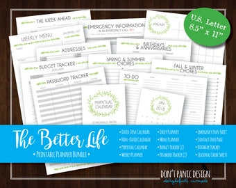 The Better Life Binder - Sweet Leaf Printable Life Binder - Home Organizing Bundle - 2018 Calendar, Planner Pages - Instant Download