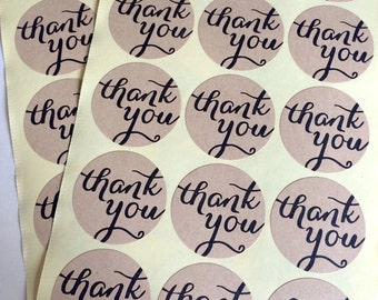 30 kraft thank you sticker - calligraphy thank you label - wedding round thank you favor sticker - wedding favors - envelope seals - circle