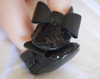 Black Sequin  Baby Moccasins/ Leather Moccasins/ Baby Shoes Girl/ Toddler Moccasins/ Kids Moccasins/ Newborn Moccasins/ Baby Gift/ Mocs