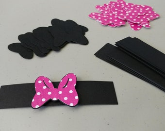 16 Minnie Mouse Napkin Rings, Black and Pink Polka Dot Napkin Rings, Minnie Mouse Party Decorations, Birthday Party Supplies