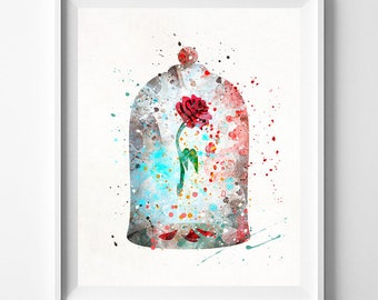 Cursed Rose Print, Beauty And The Beast, Enchanted Rose, Watercolor Art, Disney Poster, Baby Wall Decor, The Enchanted Rose, Valentines Day