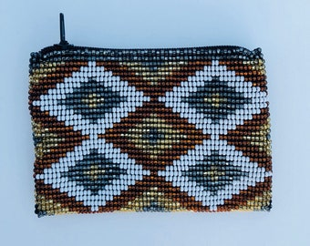 hand beaded coin pouch, lipstick pouch, tribal coin pouch, boho coin pouch, coin purse, bohemian, gypsy
