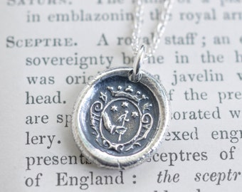 wax seal necklace - three stars under a crown pendant - three wishes - inspirational wax seal jewelry