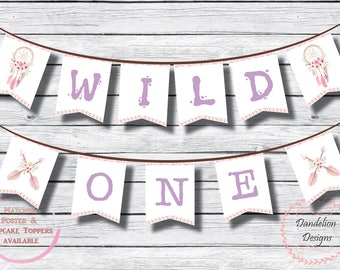 Boho birthday banner, wild one banner, 1st birthday boho, dream catcher birthday bunting, boho birthday party decorations, instant download