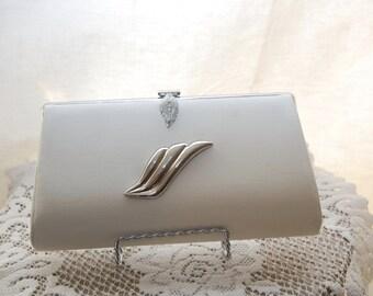 Vintage 1950 Evening Bag - White Silver Metallic Purse - Crystal Handbag - Bridal Wedding Prom - Cocktail Clutch
