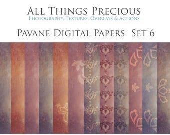 12 High ResDigital Scrapbooking Papers  PAVANE Set 6