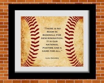 Printable Baseball Art, Lou Gehrig Quote, Baseball Quote, Boy's Room Décor, Man Cave Wall Art, Digital Print, Baseball Lover Gifts