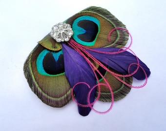 CICILY Natural, Purple, and Pink Peacock Feather Hair Clip, Feather Fascinator