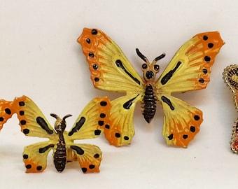 Butterfly Brooch & Clip On Earrings, Enamel Demi Parure Set, German Wire Wrapped Pin