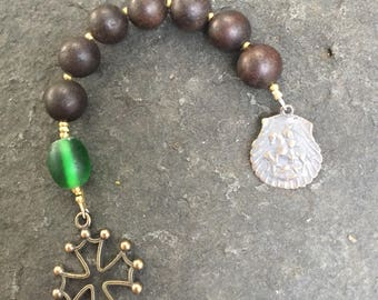 Sandalwood and African Trade Bead and Sandalwood Anglican Chaplet    St. George Chaplet  Episcopal Chaplet