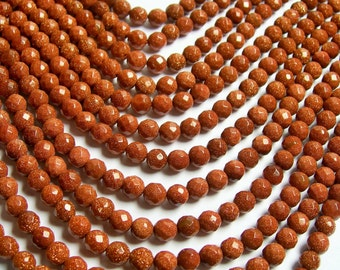 Goldstone - 6mm faceted round - full  strand - A quality - 67 beads per strand - RFG448