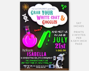 LIMITED TIME! - Science Birthday Invitation | Science Invitation, Science Party, Mad Scientist, Mad Scientist Party, Chalkboard Birthday