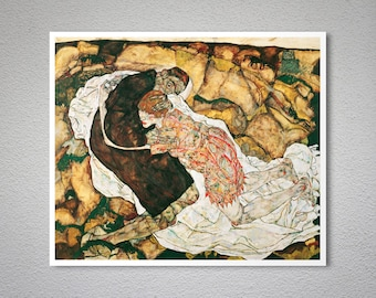 Death and the Maiden (1915-16) by Egon Schiele - Poster Paper, Sticker or Canvas Print / Gift Idea