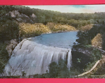 Vintage 1930s Hand Colored Postcard, Middle Falls, From Glen Iris Letchworth State Park, Castile. NY, Beautiful Postcard Collectible
