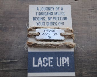 NEVER GIVE UP  Single Shoe lace Charm.  Running Motivation Shoe tags .  Christmas gift for athlete .  runners tags  .  trainers tags